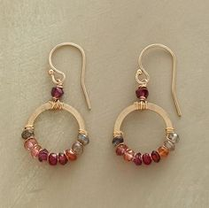 BLUSH SPECTRUM EARRINGS -- Sparkling gold-filled hoops of corundum, hessonite and rhodalite garnets, pink and smoky quartz on gold-filled earwires. Wire Wrapped Jewelry, Wire Jewelry, Jewelry Art, Beaded Jewelry, Jewelery, Jewelry Design, Bullet Jewelry, Geek Jewelry, Gothic Jewelry