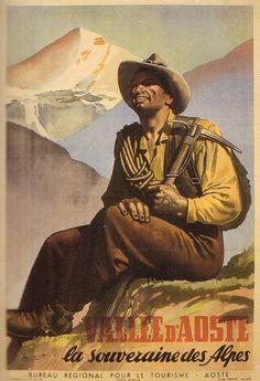 Travel poster by Gino Boccasile (1901-1952), Vallée d'Aoste, souveraine des Alpes. (I)