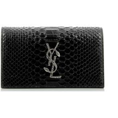 Saint Laurent Monogram Python Leather Clutch ($820) ❤ liked on Polyvore featuring bags, handbags, clutches, saint laurent, ysl, leather handbags, monogrammed clutches, leather purses, snake print handbag and genuine leather handbags