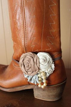Rustic Boot Bands(2) - Country Rustic Flower Boot Bracelet- Vintage Blue & Cream -Ready to Ship