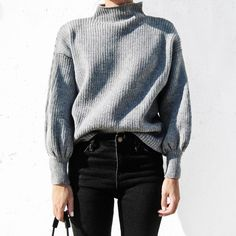 LOGAMI Lantern Sleeve Woman Sweater Autumn and Winter Loose Casual Pullover Ladies Jumpers Fashion New Street Style Outfits, Fall Outfits, Cute Outfits, Trendy Outfits, Mode Style, Style Me, Winter Stil, Inspiration Mode, Warm Sweaters