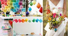 rainbow wedding colors, de lovely Affair wedding blog, multicultural weddings, DIY wedding ideas, wedding lanterns, suspended…