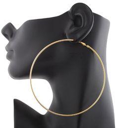 2 Pairs of Ladies Gold 4 Inch Hoop Ea...