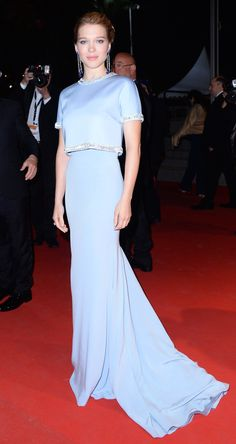 "Léa Seydoux wore a gown by Miu Miu with Chopard jewels to attend the ""The Lobster"" premiere in Cannes."