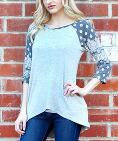 Love this Flawless Black Paisley Hi-Low Raglan Tee by Flawless on #zulily! #zulilyfinds