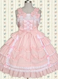 Pink And White Sleeveless Bow Bandage Sweet Lolita Dress
