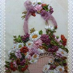 Wonderful Ribbon Embroidery Flowers by Hand Ideas. Enchanting Ribbon Embroidery Flowers by Hand Ideas. Silk Ribbon Embroidery, Learn Embroidery, Embroidery Applique, Cross Stitch Embroidery, Embroidery Patterns, Ribbon Art, Ribbon Crafts, Flower Crafts, Ribbon Flower