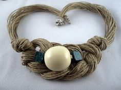 Necklace natural linen thread knots resine sphere white turquoise braid handmade desing Mediterranean style