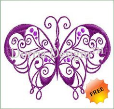 Butterfly embroidery machine design 243 , download and sew