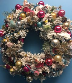Christmas Wreath with Vintage Ornaments and by thedeepblue on Etsy