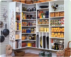 Pantry closet design and organization to make your kitchen efficient and clean using shelves, cabinets, and baskets for kitchen storage in Philadelphia area. Give us a call at for custom pantries. Kitchen Ikea, Kitchen Pantry Storage, Kitchen Pantry Design, Pantry Shelving, Kitchen Pantry Cabinets, Corner Pantry, Pantry Closet, Wall Pantry, Corner Shelving