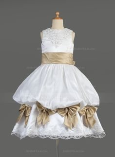 Empire Scoop Neck Tea-Length Satin Flower Girl Dress With Ruffle Lace Sash Beading Bow(s) - JJsHouse Girls Fancy Dresses, Cheap Flower Girl Dresses, Wedding Party Dresses, Bridesmaid Dresses, Satin Flowers, Pageant Dresses, Tea Length, Special Occasion Dresses, Sash
