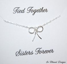 Sister necklace, Sister Birthday, Sentimental Gift, Sterling Silver bow necklace, necklace, Gift set for sisters