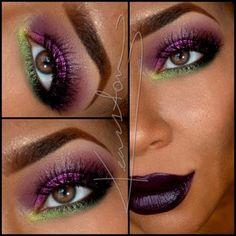 Maquillaje de ojos morado y verde. ¡¡Me encanta!!!