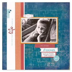 """I thought today I'd share a few more ideas using the paper pack """" Urban """". I think the mini album would make a nice gift to give to someone . Scrapbook Sketches, Scrapbook Page Layouts, Scrapbook Cards, Scrapbooking Ideas, Baby Boy Scrapbook, Urban Ideas, Scrapbook Organization, Photo Layouts, Crafty Projects"""