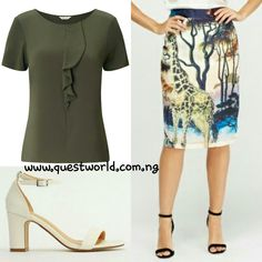 Ruffle Front Short Sleeve Top size 10-18 #6500 Skirt size 10 12 #6500 Shoes size 39 40 #8000 www.questworld.com.ng Nationwide Delivery Pay on delivery in lagos