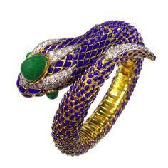 DAVID WEBB Diamond Emerald Blue Enamel Gold Snake Bangle Bracelet | From a unique collection of vintage bangles at http://www.1stdibs.com/jewelry/bracelets/bangles/