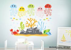 Aquarium Wall Decals, Jelly Fish Wall Decals, Ocean Wall Decals, Under the Sea Decals