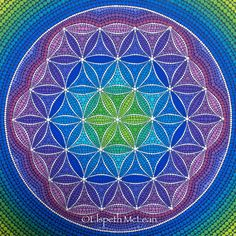 Sacred geometry flower of lie, dotillism style by Elspeth McLean
