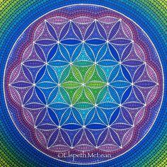 Sacred geometry flower of lie, dotillism style by Elspeth McLean
