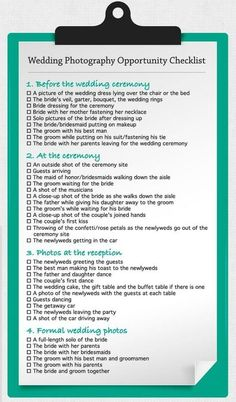 Wedding Photograpy Opportunity Checklist wedding-ideas