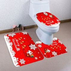 Snowflakes Christmas Sled Pattern Bath Toilet Mat Set - Red And White Pedestal Rug: Toilet Mat Set Christmas Sled, Toilet Mat, Christmas Bathroom, Bathroom Carpet, Bath Mat Sets, Pad, Seat Cushions, Rugs On Carpet, Snowflakes