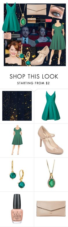 """Mia- La La Land"" by movielooks ❤ liked on Polyvore featuring Halston Heritage, eShakti, Jessica Simpson, Kate Spade, Anika and August, OPI, Dune and Bobbi Brown Cosmetics"
