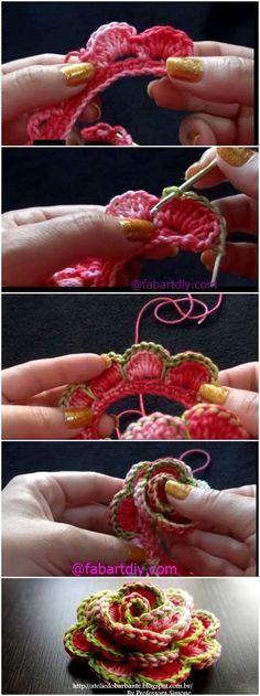 """Crochet Rose Flower In Bloom Free Pattern-Video """"Roses on crocheted matching head wraps for winter?"""", """"Crochet Rose Flower In Bloom Free Pattern: Cro Crochet Motifs, Crochet Flower Patterns, Crochet Flowers, Crochet Stitches, Pattern Flower, Crochet Crafts, Crochet Yarn, Crochet Projects, Crochet Simple"""