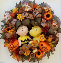 Charlie Brown Wreath LED Light Up Fall Halloween Wreath Fall Great Pumpkin Wreath Halloween Charlie Brown Wreath Woodstock Peanuts Wreath by SouthernHeartWreaths on Etsy