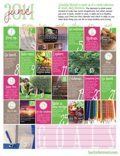 Wellness Calendar: June 2014 (free printable) This lady is amazing! I love her site - go check it out!