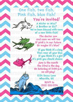 Dr Seuss One Fish Two Fish Gender Reveal Baby Shower Invitation