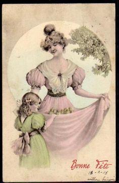 FR156-VIENNE-a-s-BRAUN-MERE-FILLETTE-POUSSINS-EDWARDIAN-MOTHER-DAUGHTER