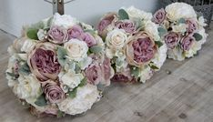 Mauve & White Wedding Bouquets for Bride, Bridesmaid & Flower Girl - Artificial Flowers