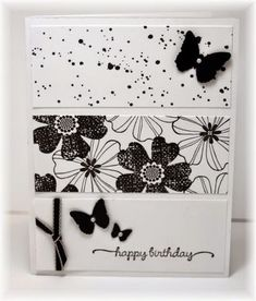 The card - just 3 stamped panels..... stamped images are from SU. Butterflies are punch from Martha Stewart. Can't go wrong with black and white, one of my favorite color combos! I finally got some