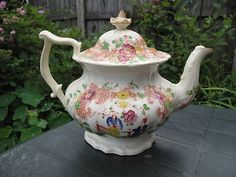 RARE-Large-Early-19th-century-Antique-English-Chinoiserie-Teapot-Rococo-Shape