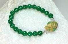 Green Quartzite Stretch Bracelet Genuine by CaveGemstones on Etsy