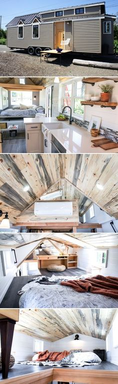 The Kootenay Country is a 28' tiny house featuring a main floor queen bedroom, built-in fir desk in the king bedroom loft, and a drop down deck.