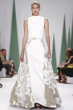 Carolina Herrera Ready To Wear Spring Summer 2015...Beautiful silhouette. Imagine this in bridal fabric with embellishments to match your wedding theme. Ask you seamstress for suggestions. Cheaper to have custom-made than purchasing from salon.