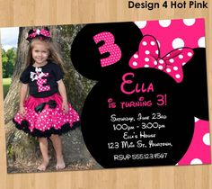 Minnie Mouse Invitation  Printable Birthday by KidsPartyPrintables, $8.99
