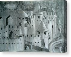 Canvas Print, sketch, drawing, castle,tower,fort,fortress,medieval,turrets,rural,scenery,view,winter,townscape,roof,tops,rooftops,buildings,old,architectural,oldtime,exterior,calm,peaceful,tranquil,north europe,realism,fairytale,hand,made,pencil,graphite,black,white,in,at,of,by,for,with,the,a,and,artworks,home,hotel,office,decor,popular,best,products,items,for sale, online,fine art america