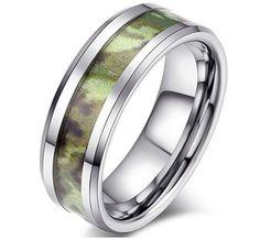 cheap green tungsten camo wedding ring