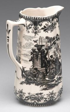 Black Toile Scenic Countryside Transferware Pitcher