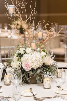 rustic wedding centerpieces white ruddy roses and branches with candles in a wooden box side by side weddings via instagram