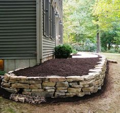 Raised Stone Bed On Front Of House   Google Search