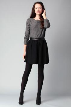 Jupe noire détail simili cuir Sabrina