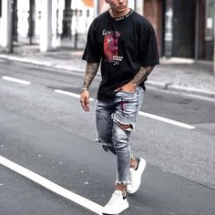 mens Jeans – High Fashion For Men Dope Outfits For Guys, Summer Outfits Men, Nice Outfits, Casual Outfits, Black Men Street Fashion, Outfits Hombre, Fashion Pants, Fashion Men, Fashion Tips