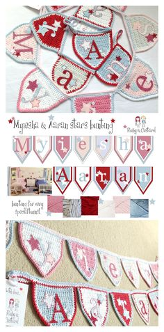 Handmade crochet bunting designed to decorate a bedroom and nursery shared by a brother and sister