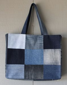 Patch Front Denim Tote Bag Fully Lined with a by AllintheJeans