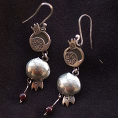 Earrings, Pomegranate, double, silver - NEW!