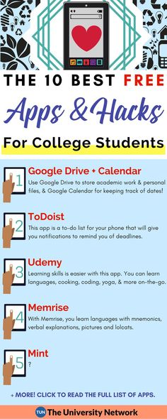 Here are the top 10 apps for productivity & organization, education & learning, finance & budgeting, and savings & shortcuts. lernen 10 Best Education Apps and Hacks for College Students College Hacks, College Fun, School Hacks, School Tips, Online College, Education College, Student Studying, College Students, Nursing School Scholarships